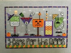 Ribbon Embroidery Patterns Halloween cocktail needlepoint by Sew much fun Needlepoint Designs, Needlepoint Stitches, Needlepoint Canvases, Needlework, Ribbon Embroidery, Cross Stitch Embroidery, Embroidery Patterns, Cross Stitch Designs, Cross Stitch Patterns