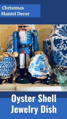 Blue Christmas Decor, Christmas Mantels, Unique Christmas Gifts, White Christmas, Shell Jewelry, Jewelry Dish, Ankara Blouse, Holiday Ideas, Holiday Decor