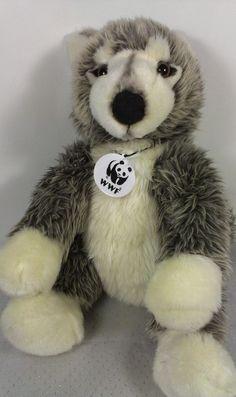 """BABW Build a Bear WWF World Wildlife Fund Grey Wolf Stuffed Plush Puppy Dog 15""""  #BABWBuildaBear"""