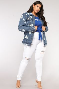 b836cbfa244 Deep Distress Denim Jacket - Blue Denim. Fashion Nova Curve
