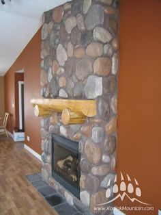131 best images about River Rock Stone Fireplace Pictures, Fireplace Ideas, River Rock Fireplaces, Manufactured Stone Veneer, Sandstone Wall, Building Art, Building Materials, Interior And Exterior, Interior Design