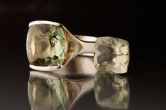 Fold Ring with Green Amethyst (Prasiolite), Sterling Silver