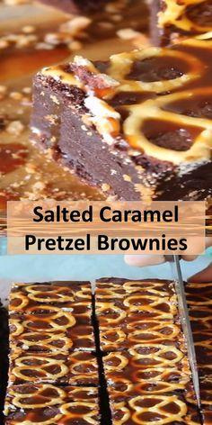 Food C, Good Food, Yummy Food, Caramel Pretzel Brownies, Fun Desserts, Dessert Recipes, Brownie Ingredients, Lime Cheesecake, Thing 1