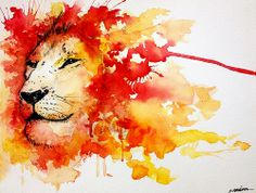 watercolor lion More
