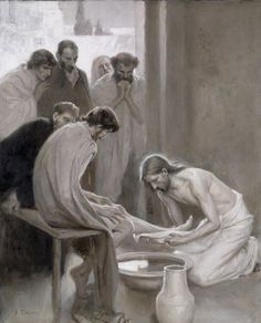 The servant heart of Jesus. Jesus lava os pés de seus apóstolos.