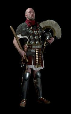 Reenactor dressed as a Roman Centurion, 1st century CE. Photograph by Stef…