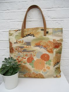 SALE  Large Tote  bag made from vintage silk kimono and obi