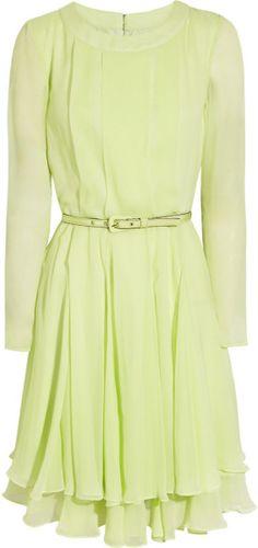 Oscar De La Renta Yellow Pleated Silk Chiffon Dress