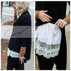 Slip on shirt extender to add length and lace detail to the bottom of any shirt., Shirt Extender White Double Scalloped Lace Slip on shirt extender to add length and lace detail to the bottom of any shirt. Sewing Hacks, Sewing Projects, Sewing Tips, Mode Ab 50, Shirt Extender, Diy Kleidung, Diy Vetement, Clothing Hacks, Scalloped Lace