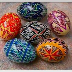 Ukrainian Pysanky Eggs Like the blue w green white egg sawtooth