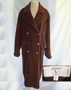 8b513cc1af95b Valentino Miss V Cashmere Wool Oversize Maxi Brown Winter Coat Vintage 90s  10