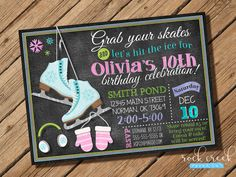 Hey, I found this really awesome Etsy listing at https://www.etsy.com/listing/462674676/ice-skating-invitation-chalkboard-ice