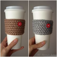 """""""15 Min Coffee Sleeve""""- Free pattern by """"Frayed Knot""""  Braided look is created by crocheting in third loop of half double crochets!"""