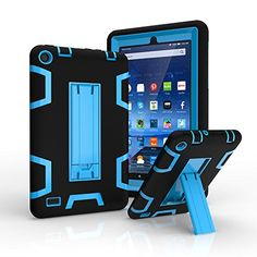Amazon Fire 7 Case Fire 7 2015 Case VPR 3 In 1 Hybrid Hybrid Armor Shockproof Protective Kickstand Case For Amazon Fire 7 Inch Tablet 5th Generation  2015 release Only BlackBlue *** Read more reviews of the product by visiting the link on the image.Note:It is affiliate link to Amazon.