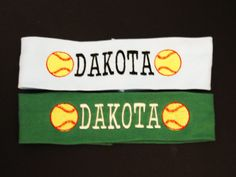 Set of 2 Embroidered Softball Headbands  Embroidered by madebyjill, $16.00