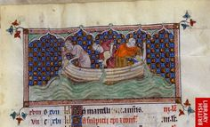 Detail of a miniature of three men in a boat pouring water from jugs (for the zodiac sign Aquarius), on a calendar page for January.   Origin:England (London/Westminster or East Anglia?)   Attribution:Queen Mary Master