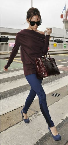 Victoria Beckham, Blood Red Sweater, Blood Red Hermes Purse, Black and Blue Pants, Work, Love