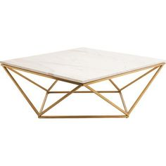 Showcasing an openwork base and a square top, this lovely coffee table looks perfect anchored atop a crisp white shag rug for a touch of glam.