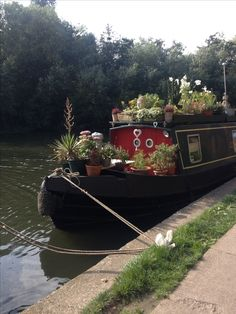 Canal boat with a mountain of potted plants Barge Boat, Canal Barge, Canal Boat, Narrowboat Interiors, Houseboat Living, Houseboat Ideas, Living On A Boat, Sailboat Living, Tiny Living