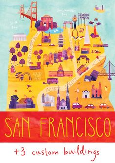 "Customized Illustrated San Francisco Map, 24"" x 30"", Digital Print. $250.00, via Etsy."