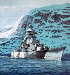 KSM Tirpitz - Art - The Lonesone Queen - corazzata classe Bismarck - Entrata in servizio25 febbraio 1941 Dislocamentoa vuoto: 42.900 t (di cui il 40% dedicato alle corazze) a pieno carico: 52.600 t Lunghezzasulla linea di galleggiamento: 241 m complessivo: 253,60 m Larghezza 36 m Pescaggiostandard: 8,7 m a pieno carico: 10,2 m Propulsione 12 caldaie a vapore modello Wagner, 3 assi d'elica (138.000 HP) Velocità30 nodi Autonomia 17.200 km a 16 nodi Equipaggio 2.608 (103 ufficiali)