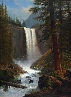 Vernal Falls: 1863 by Albert Bierstadt (Private Collection) - Hudson River School