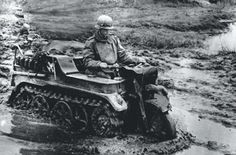 """georgy-konstantinovich-zhukov: """" A German soldier fords through a flooded area on his Sd.Kfz. 2 tracked motorcycle, best remembered by its nickname, the Kettenkrad. (BKG) """""""
