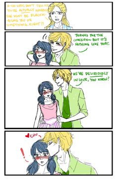 I drew more fanart for Korean twitter headcanon storiesThe premise for this one was 'Adult Adrien and Marinette are forcibly married because papa Agreste (who is not Hawkmoth in this scenario) reckons Marinette is a suitable successor to his fashion empire and wants to keep it in the family'. The explanation for the comic-y part is Chloe finds out about the marriage and bullies Marinette about it relentlessly, so Adrien steps up and decides to put a stop to it in his own way. :PI love the…
