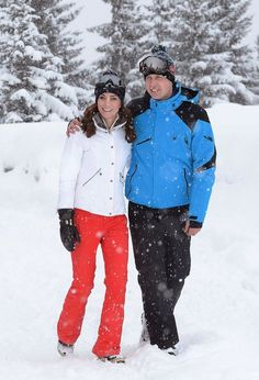 The Duke and Duchess of Cambridge in the snow on their holiday in the French Alps