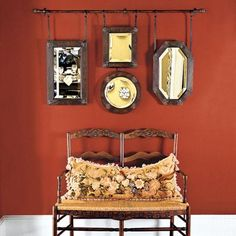 88 Quick and Easy Decorative Upgrades- Mirror Wall Art on a Rod This Old House, Mirror Wall Art, Hanging Curtains, Hanging Mirrors, Hanging Pictures, Clever Design, Curtain Rods, Wall Collage, Old Houses