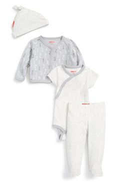 Skip Hop 'Take Me Home' Cardigan, Wrap Bodysuit, Footed Pants & Hat Set (Baby) available at #Nordstrom