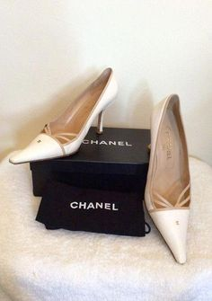 CHANEL WHITE   BEIGE TRIM LEATHER HEELS SIZE 7.5 40.5 - Whispers Dress  Agency - Womens Heels - 1  Chanelhandbags 04f0cb9261dc4