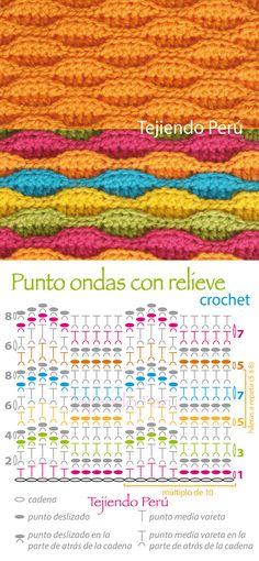 Crochet: punto ondas texturado (o en relieve). Diagrama o gráfico!