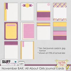 "Journal cards are the perfect way to record precious memories of your loved ones and special events. This set of 10 3""x4"" journal cards is designed to be used horizontally or vertically making them a versatile addition to your collection.     This pack coordinates perfectly with my other All About Girls products: All About Girls mini kit and All About Girls alpha pack."