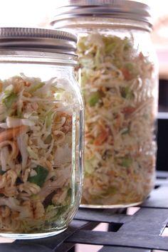Healthy Asian Chicken Salad. Individual servings in mason jars.