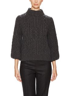 Cashmere Cable Knit Funnel Neck Sweater