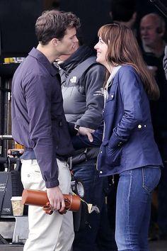 Jamie Dornan & Dakota Johnson on set of Fifty Shades of Grey in Vancouver - 14 Oct 2014