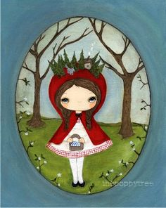 Fairy Tale Print Little Red Riding Hood Wolf Forest