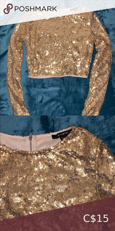 Gold Sequinned Crop Top Perfect for going out gold sequinned long sleeve crop top one little spot missing a few sequins you can't even notice ⭐️⭐️⭐️ Tops Crop Tops Plus Fashion, Fashion Tips, Fashion Trends, Long Sleeve Crop Top, Top Colour, Going Out, Sequin Skirt, Sequins, Crop Tops