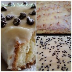 Cannoli Poke Cake #SundaySupper This cake is like taking the filling of a cannoli and spreading it over a cake! It's a light fluffy white cake with creamy mascarpone and ricotta frosting with mini chocolate chips sprinkled all over.
