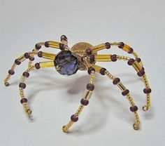 Amethyst and Gold Beaded Spider by BedazzledbyDebi on Etsy, $18.00