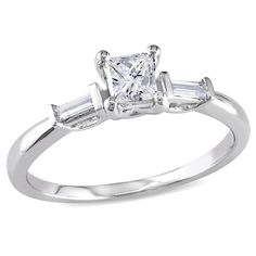 Miadora 14k White Gold 1/2ct TDW Diamond Engagement Ring (H-I, I2-I3) (Size 6), Women's