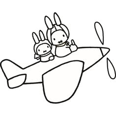 Miffy Plane Ride Planes Party, Plane Ride, Miffy, Simple Lines, Coloring Pages For Kids, Svg Cuts, Cutting Files, Doodles, Embroidery