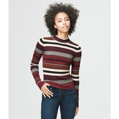 Aeropostale Ribbed Stripe Sweater ($22) ❤ liked on Polyvore featuring tops, sweaters, volcano red, textured sweater, aeropostale sweaters, red stripe sweater, striped sweater and cotton sweaters