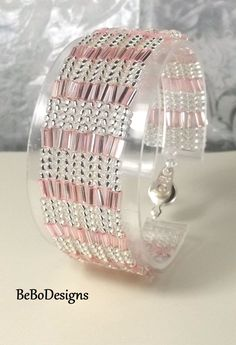Herringbone Bead Woven Cuff Bracelet with Clear Silver Lined Seed Beads and Pink Bugle Beads by BeBoDesigns on Etsy