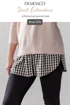Aug 2019 - Absolutely perfect for fitting and flattering any lucky lady on your gifting list, our striking shirt extenders are a fashionable must-have this season. Shirt Refashion, Diy Shirt, Diy Upcycled Clothing No Sew, T Shirt Remake, Shirt Extender, Altering Clothes, Making Shirts, Clothing Hacks, Sewing Clothes
