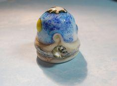 Collectible thimble-handmade murano glass-seashore-SRA-ocean-collectible-art and soul studios-little glass art-thimble-art-collectible glass by ArtandSoulStudios on Etsy