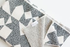 Of a Kind - Izmir Gray and Cream Knit Blanket by Savannah Hayes Savannah Hayes, Bermuda Triangle, Knitted Blankets, Objects, Textiles, Quilts, Gray, Knitting, Fabric