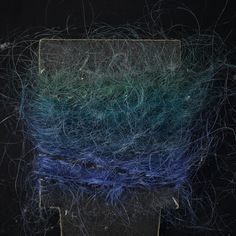 Yarn sample, blue and green space-dyed mohair