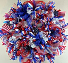 Fourth of July Wreath July 4th Wreaths Front by YourBeautifulDoor